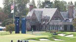 US Open contenders walk the ninth hole during a practice round at Winged Foot in Mamaroneck, New York
