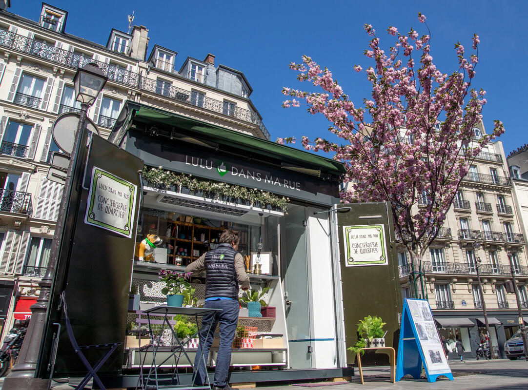The Lulu dans ma rue kiosk in Paris where residents of the Marais can hire someone for an odd job