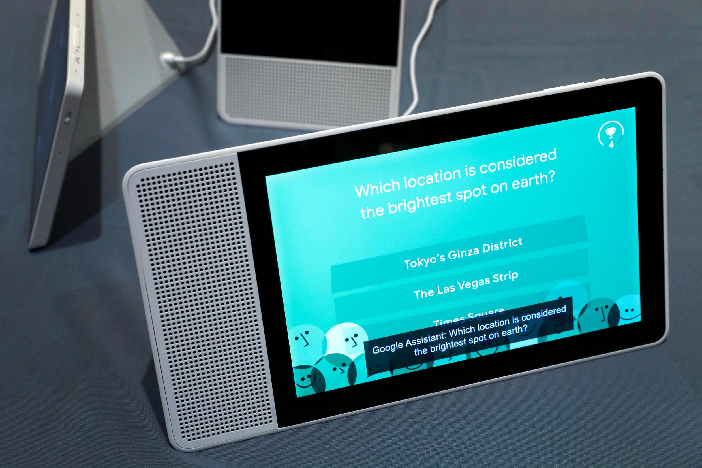 Ecrã inteligente Lenovo assistente do Google no salão mundial CES de Las Vegas, Estados Unidos