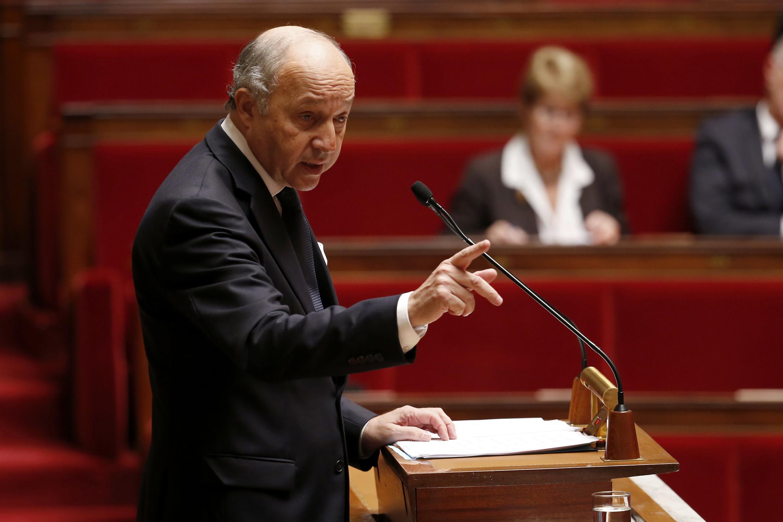 Ngoại trưởng Pháp Laurent Fabius phát biểu trước cuộc bỏ phiếu tại Quốc hội công nhận Palestine - REUTERS /Charles Platiau