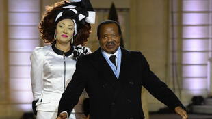 President Paul Biya and first lady Chantal Biya pose outside the Elysee Palace, December 2013.