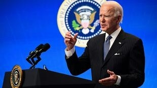 El presidente de EEUU Joe Biden ante la prensa en la Casa Blanca el 25 de enero de 2021