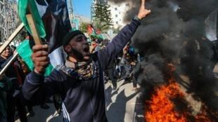 Wapalestina waandamana Januari 28, 2020 huko Gaza, kabla ya kutangazwa kwa mpango wa amani wa Marekani Mashariki ya Kati.