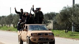 Ahrar al-Sham Islamic Movement  fighters in the north-west Syrian city of Idlib in March