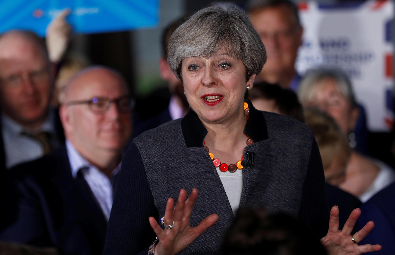 Anh Quốc : Thủ tướng Theresa May trong một cuộc vận động ngày 02/05/2017, tại Bristol.