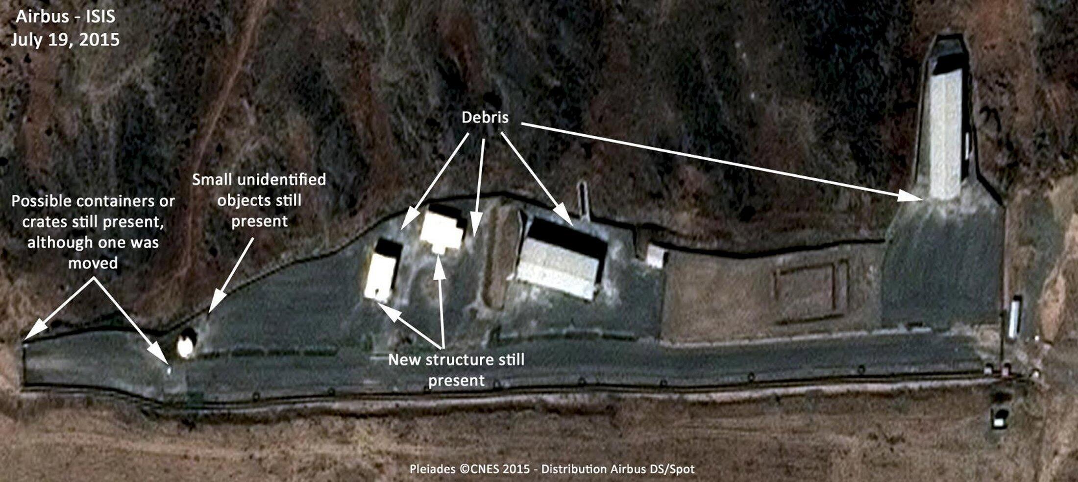 Imagen de satélite muestra el complejo militar de Parchin, vinculado al programa nuclear iraní, 19 de julio de 2015.