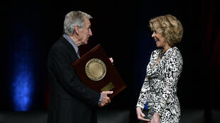 US actress Jane Fonda receives the 10th Lumière Career Award from Costa-Gavras in Lyon 19 October 2018