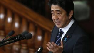 Thủ tướng Shinzo Abe phát biểu trước Quốc Hội Nhật Bản.