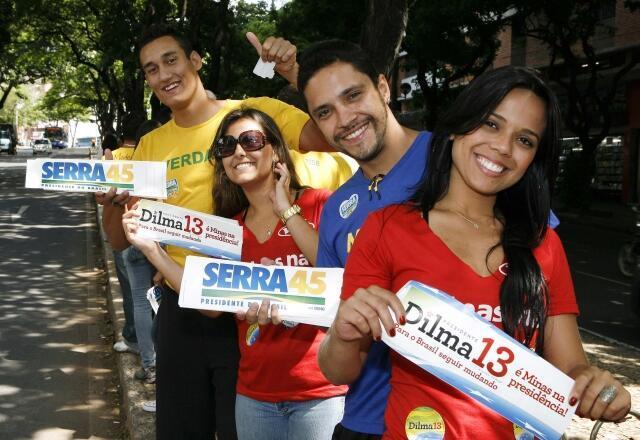 Reta final da campanha presidencial brasileira nas ruas de Belo Horizonte.