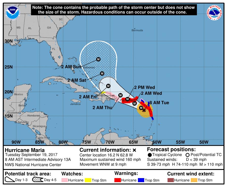 La situation de l'ouragan à 12h00 TU selon le National Hurricane Center américain.