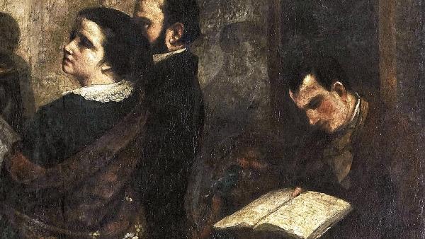 «L'atelier du peintre», un tableau de Courbet de 1855, le seul qui représenta Jeanne Duval et Charles Baudelaire ensemble, avant qu'elle en soit effacée.