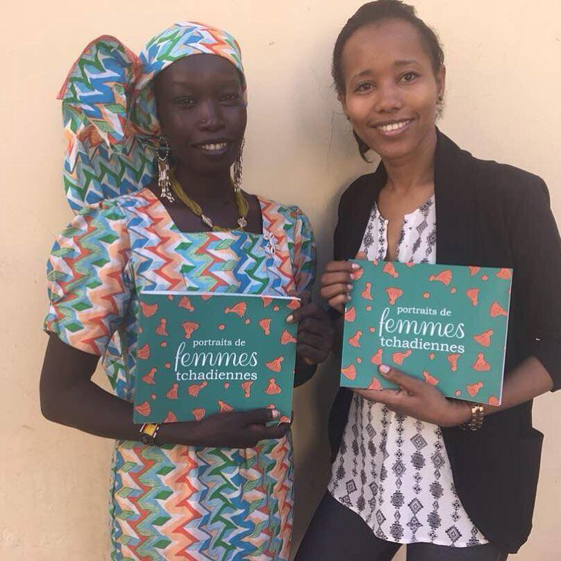 """Chadian artists Salma Khalil (Left) & Aché Coelo (Right) present their joint-book """"Portraits of Chadian Women"""""""