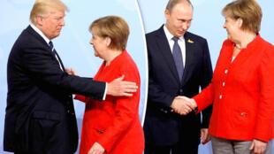 二十国集团峰会上特朗普与普京和默克尔的资料图片