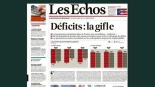 Capa do jornal francês Les Echos desta quinta-feira, 6 de março de 2014