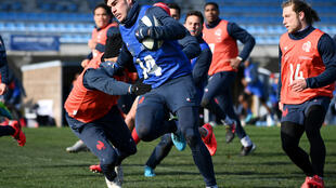 Damian Penaud during training in Marcoussis, south of Paris, ahead of Sunday's Six Nations clash with Ireland in Dublin