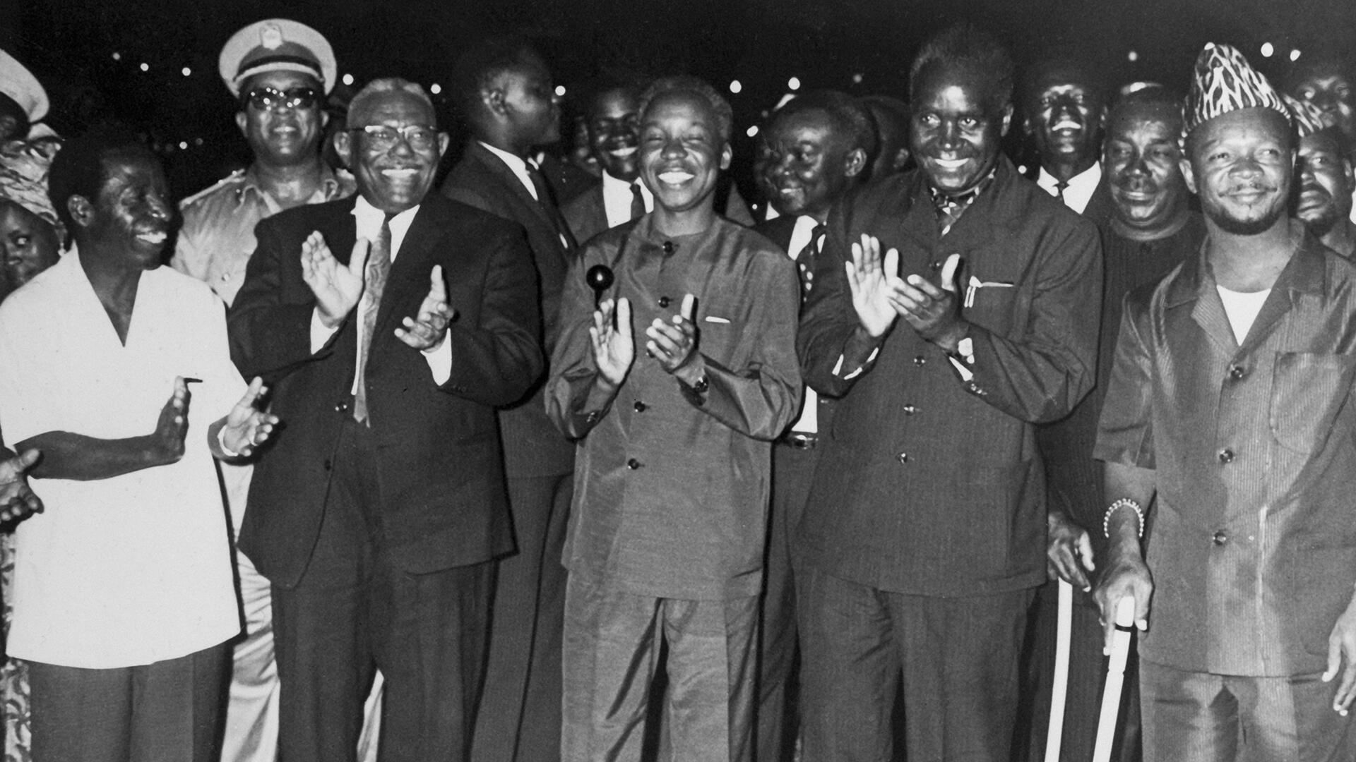 Alphonse Massamba-Débat, Ismaïl al-Azhari, Julius Nyerere, Kenneth Kaunda, Jean-Bedel Bokassa, le 17 mai 1968.