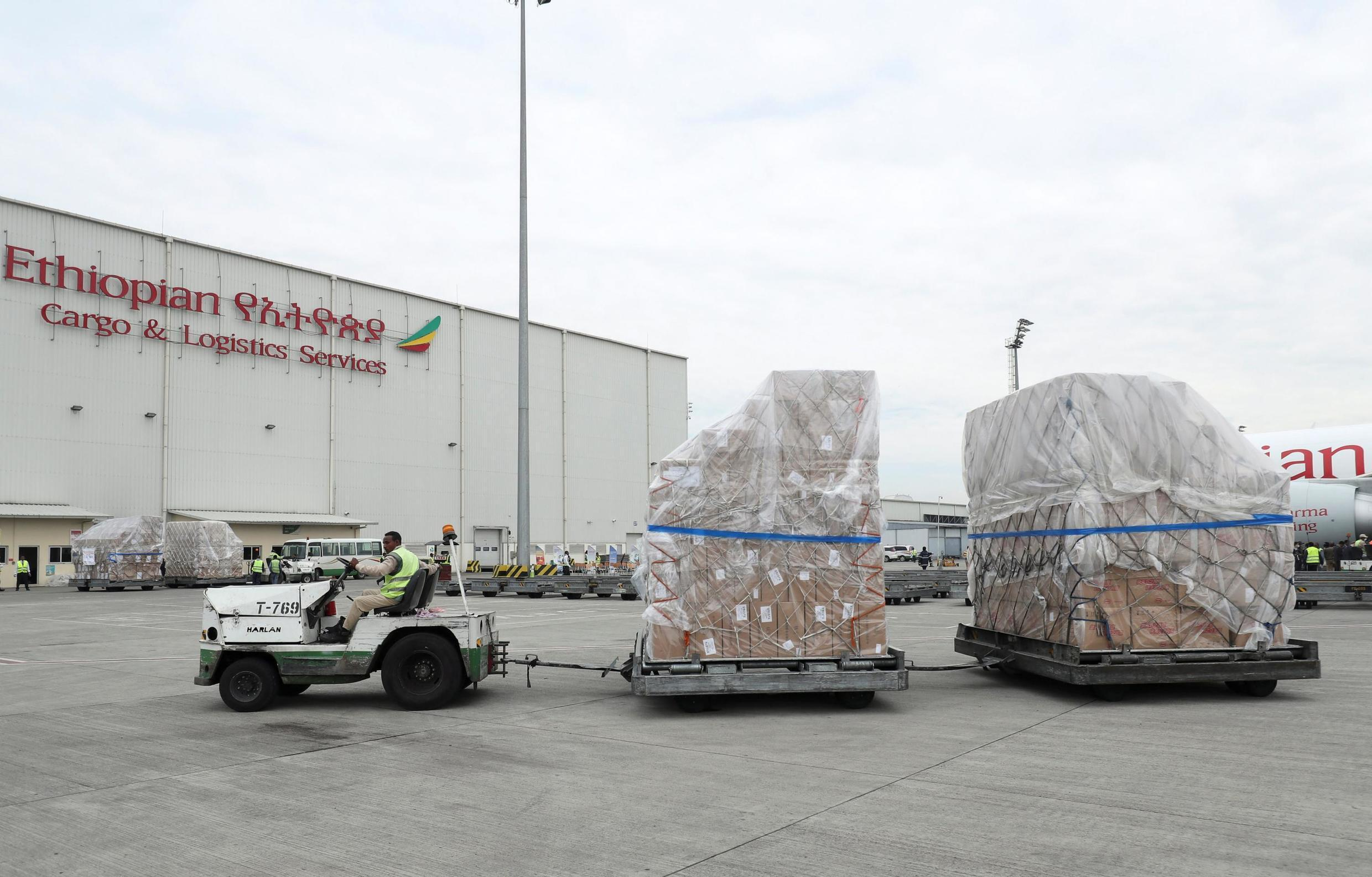 China donates millions of medical supplies, including test kits, masks and preventive suits to African countries.