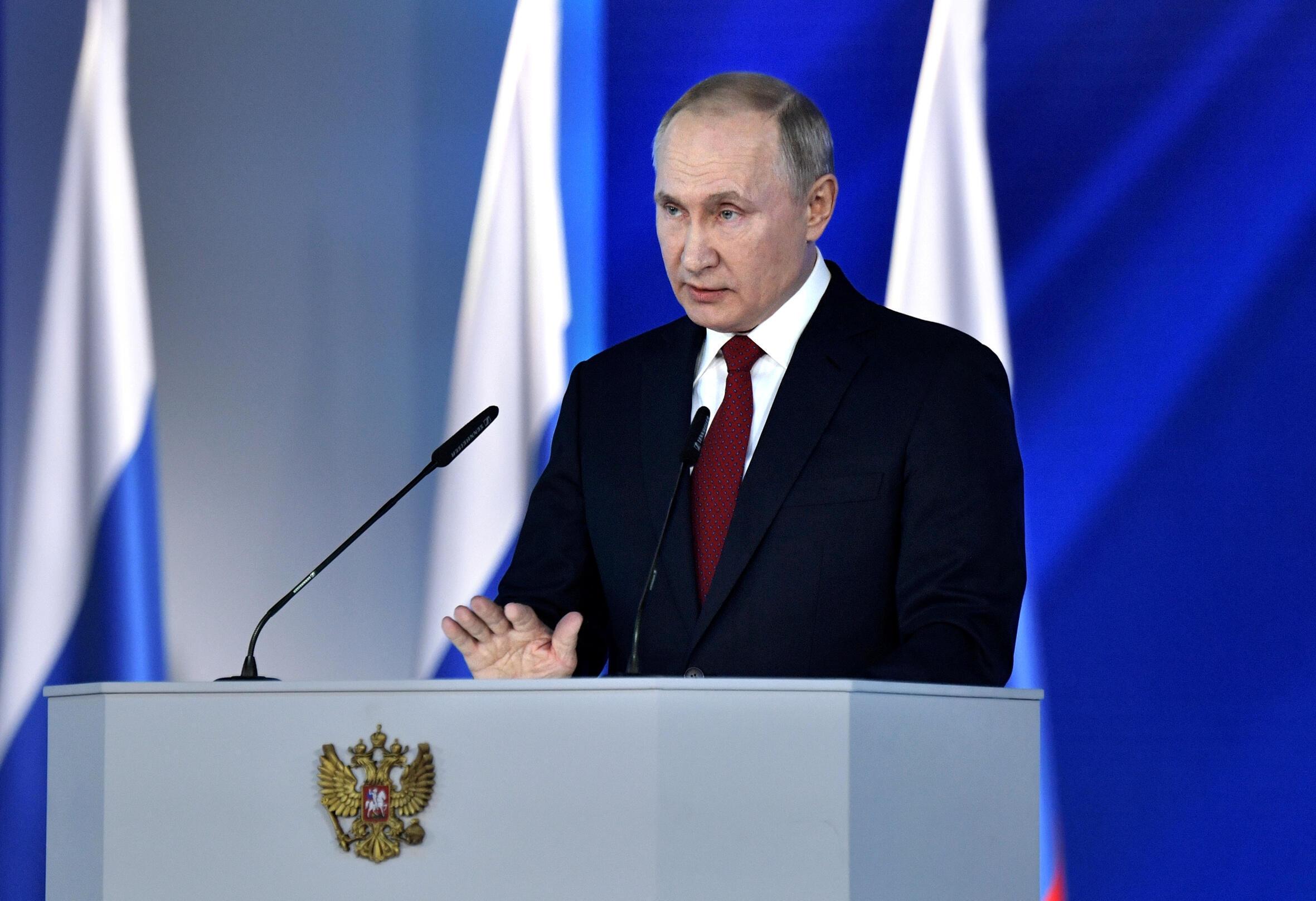 ប្រធានាធិបតីរុស្ស៊ីលោក  Vladimir Poutine នៅឱកាសថ្លែងសន្ទរកថាប្រចាំឆ្នាំស្តីពីស្ថានភាពជាតិកាលពីថ្ងៃទី១៥ មករានៅមុខសភា