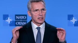 Tổng thư ký NATO Jens Stoltenberg phát biểu trong cuộc họp báo về tình hình Iran tại Bruxelles ngày 06/01/2020.