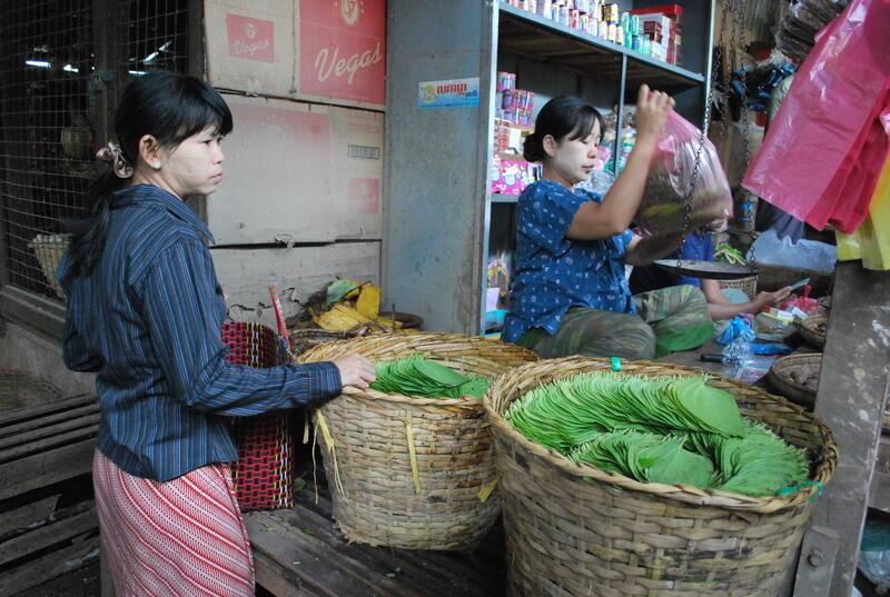 Lá trầu bán ở ngoài chợ Nyaung Oo tại Bagan, Miến Điện @flickr