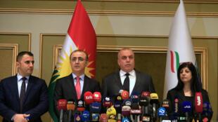 图为伊拉克库尔德自治区最高选举委员会宣布独立公投结果