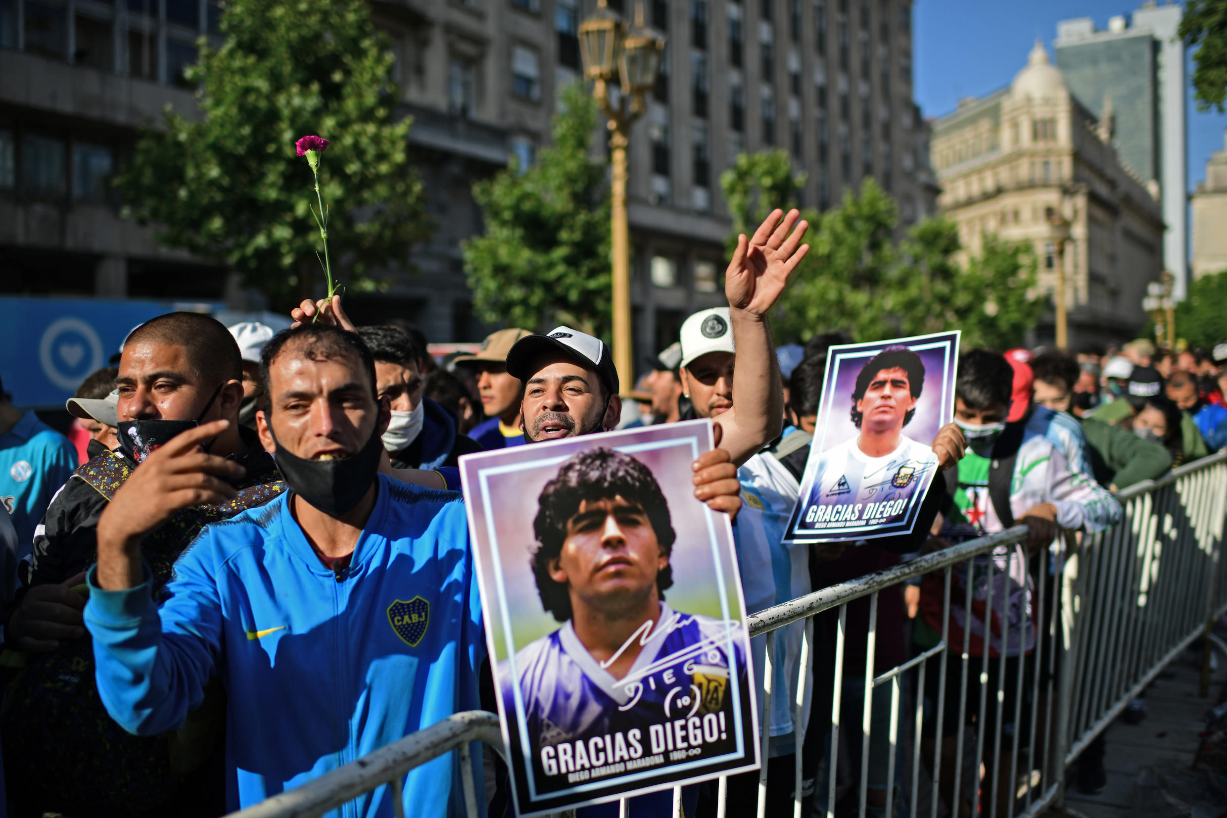 Thousands of Argentines make long lines to enter the Casa Rosada and say goodbye to the late soccer star Diego Armando Maradona on November 26, 2020 in Buenos Aires