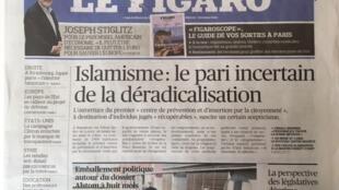 Capa do jornal Le Figaro desta quarta-feira, 14/09/2016