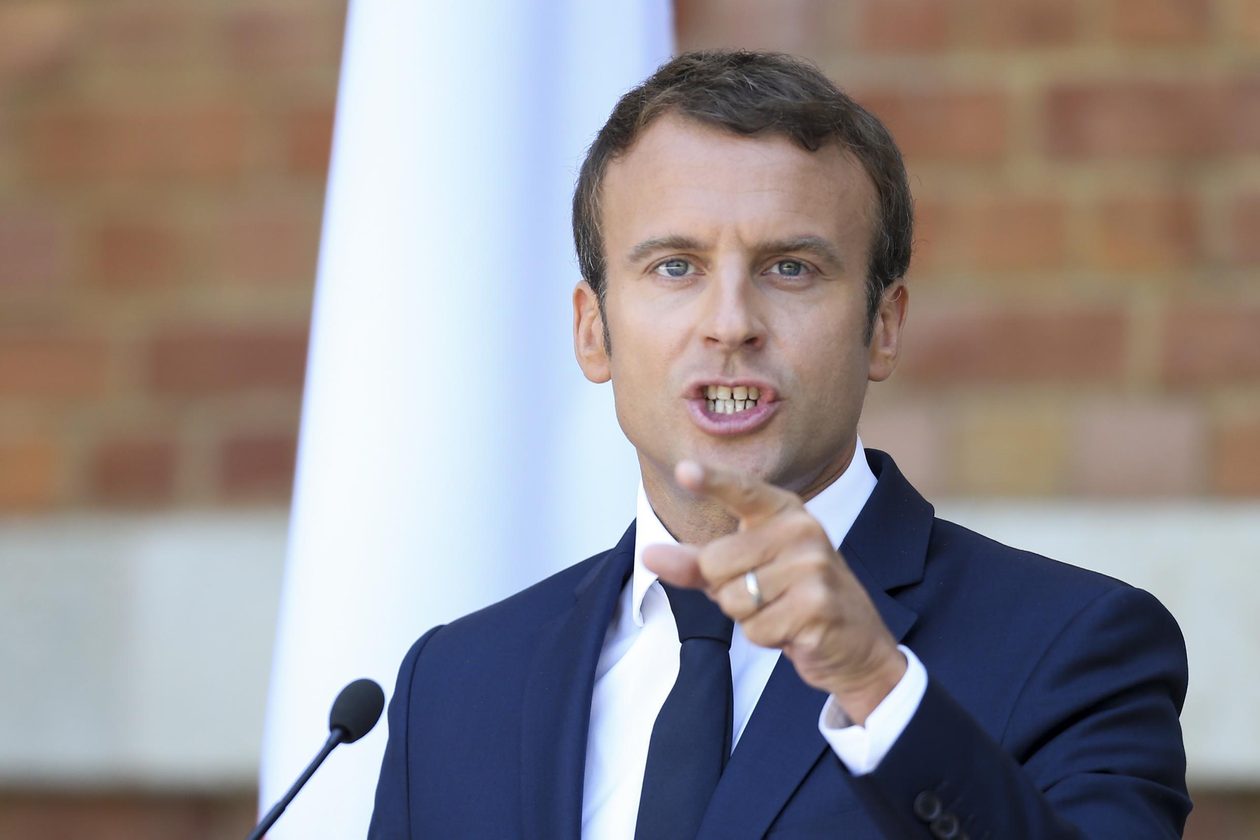 French President Emmanuel Macron attends a joint news conference with Bulgarian President Rumen Radev (not pictured) in Euxinograd residence, near Varna, Bulgaria, August 25, 2017.
