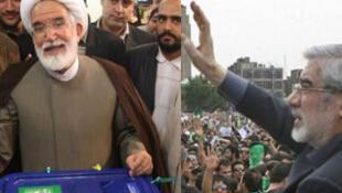 Deux leaders de l'opposition, Mehdi Karoubi (à gauche) et Mir Hossein Moussavi.