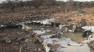 The crash site of Air Algerie flight AH5017, near the northern Mali town of Gossi, 24 July 2014.