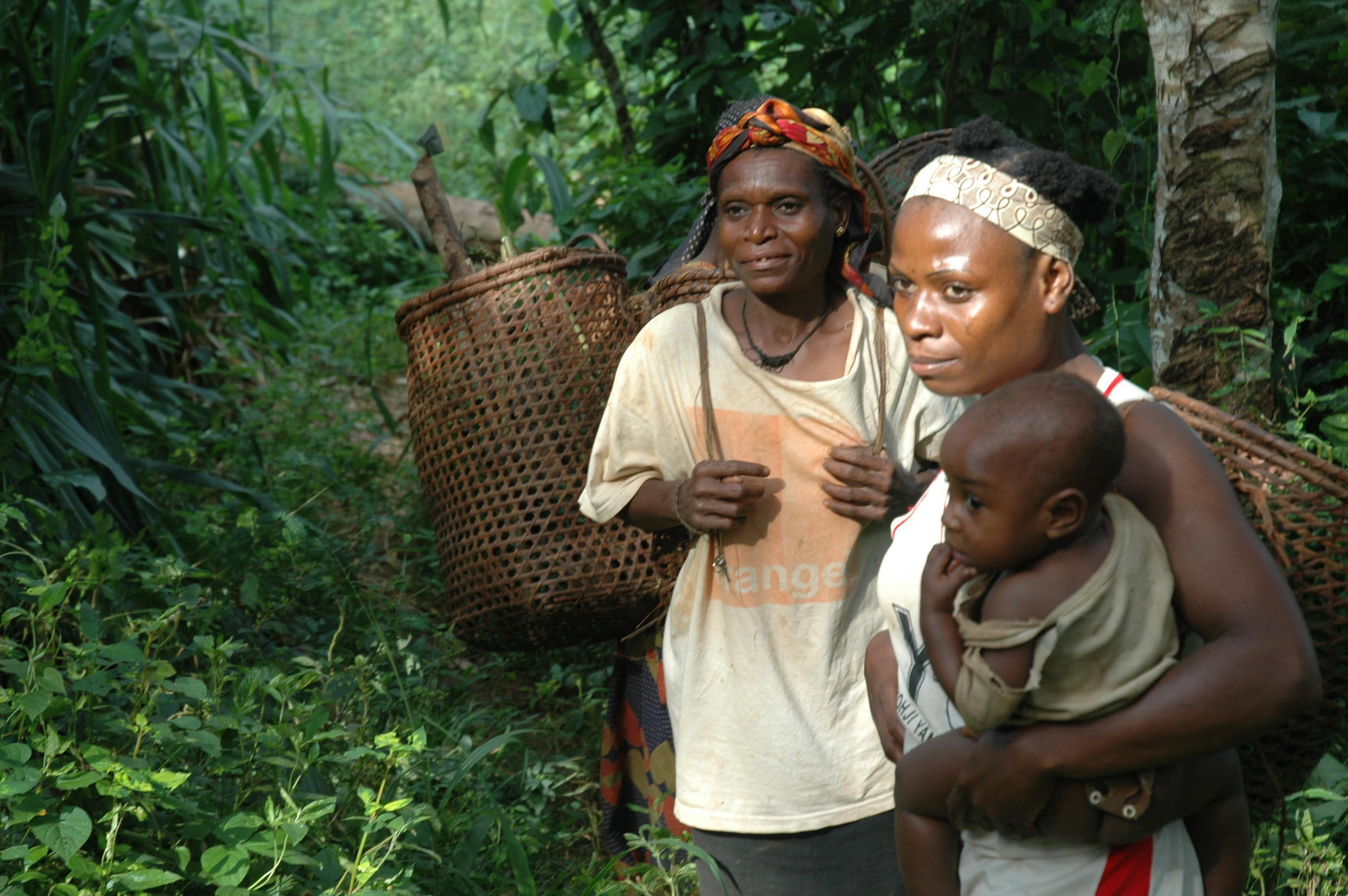 Indigenous women engaged in foraging.