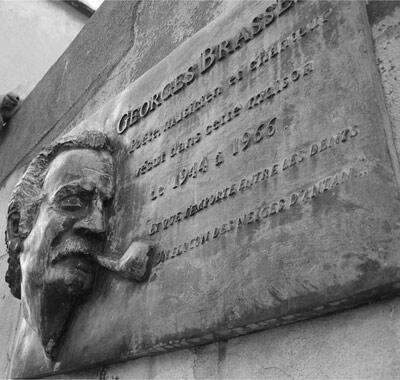 A plaque marks Georges Brassens' house