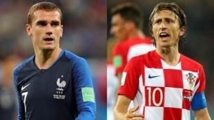 法国队和克罗地亚两员大将:法国球员格里兹曼(蓝衣)与克罗地亚球员莫德里奇