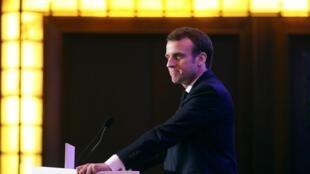 Emmanuel Macron lors du dîner annuel du Conseil de coordination des organisations arméniennes de France (CCAF), le 5 février 2019.
