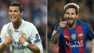 Cristiano Ronaldo (esquerda) e Lionel Messi (direita) não vão participar no Clássico espanhol.