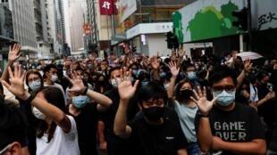 Masu zanga-zangar kin jinin gwamnati a Hong Kong.
