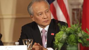 Đại sứ Trung Quốc tại Hoa Kỳ Thôi Thiên Khải tại cuộc Đối thoại Chiến lược và Kinh tế Mỹ - Trung  ngày 24/06/2015 tại Washington.