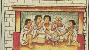 Thổ dân da đỏ Aztec trong một bữa ăn. Ảnh minh họa.