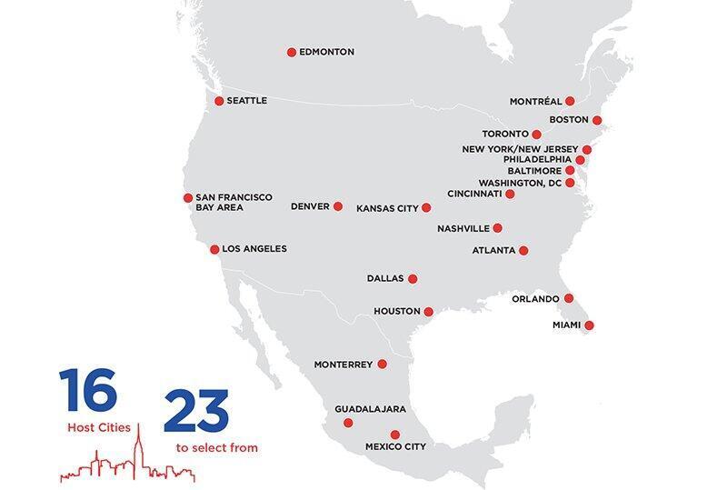 Les stades pressentis des Etats-Unis, du Mexique et du Canada pour le Mondial 2026.