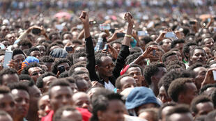 Residents attend a rally by Ethiopia's newly elected prime minister Abiy Ahmed during his visit in the Oromiya region on 11 April 2018.