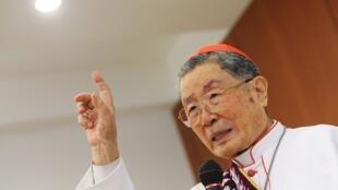台湾天主教枢机主教单国玺生前演讲情景