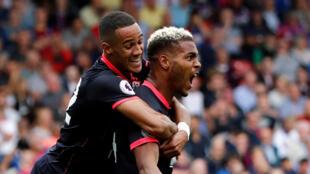 La joie de l'international béninois Steve Mounié (d) après son second but face à Crystal Palace, le 12 août 2017.