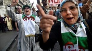 Des manifestants dans les rues d'Alger, le 11 octobre 2019.
