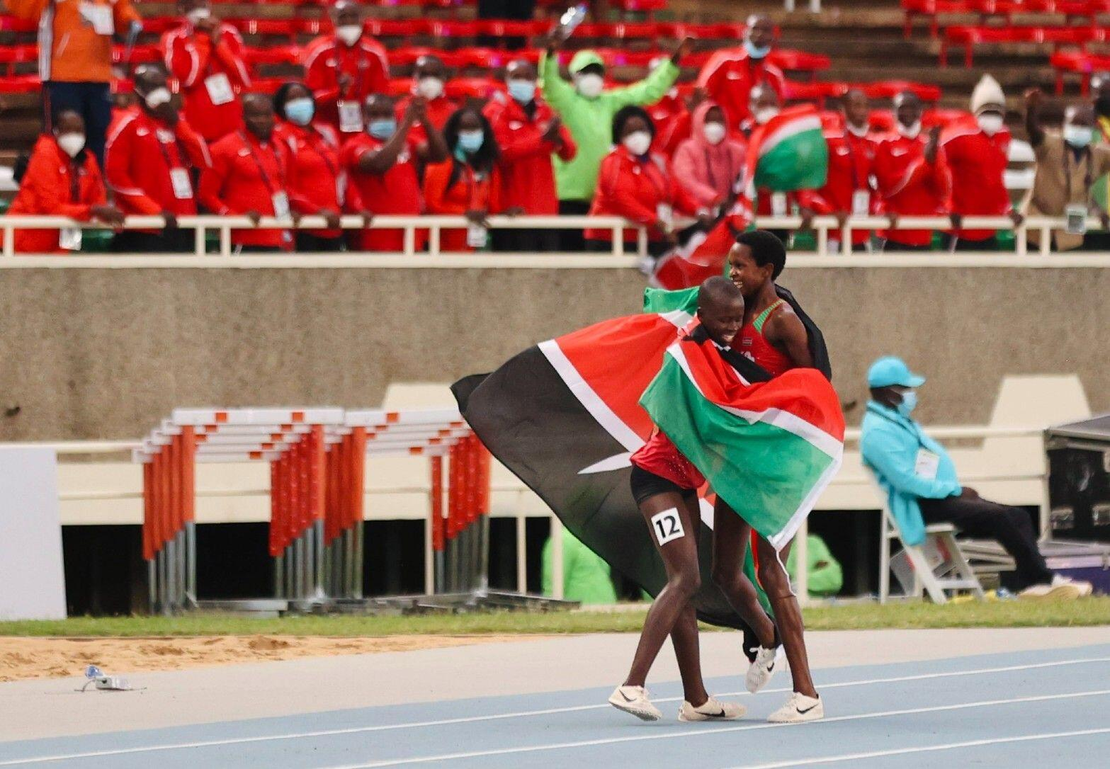 Jackline Chepkoech on her way to 3000m steeplechase victory at the World U20 Championships in Nairobi (© Dan Vernon)
