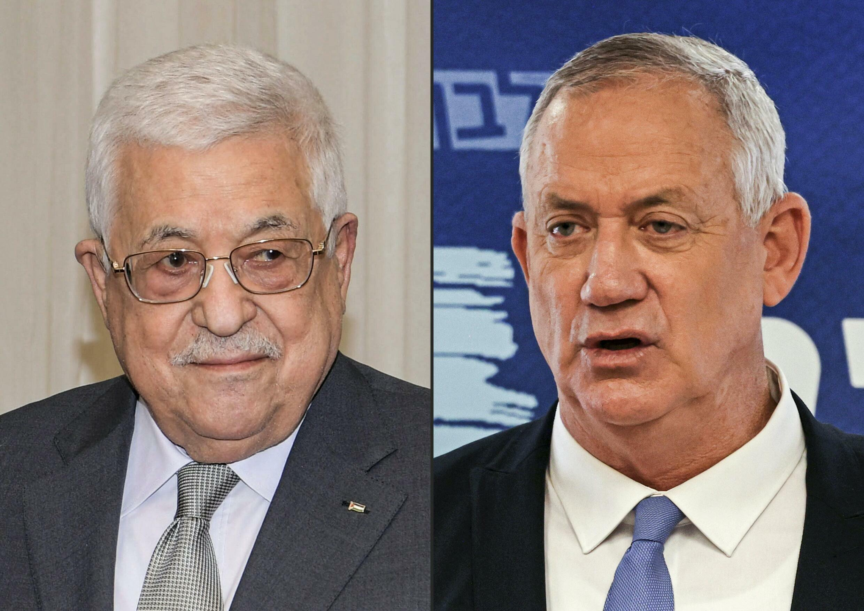 Palestinian president Mahmud Abbas (L) has held a rare meeting with Israeli Defence Minister Benny Gantz