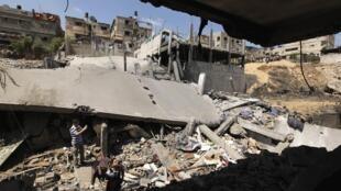 Ontem, complexo esportivo foi destruído por bombardeios israelenses na Faixa de Gaza.