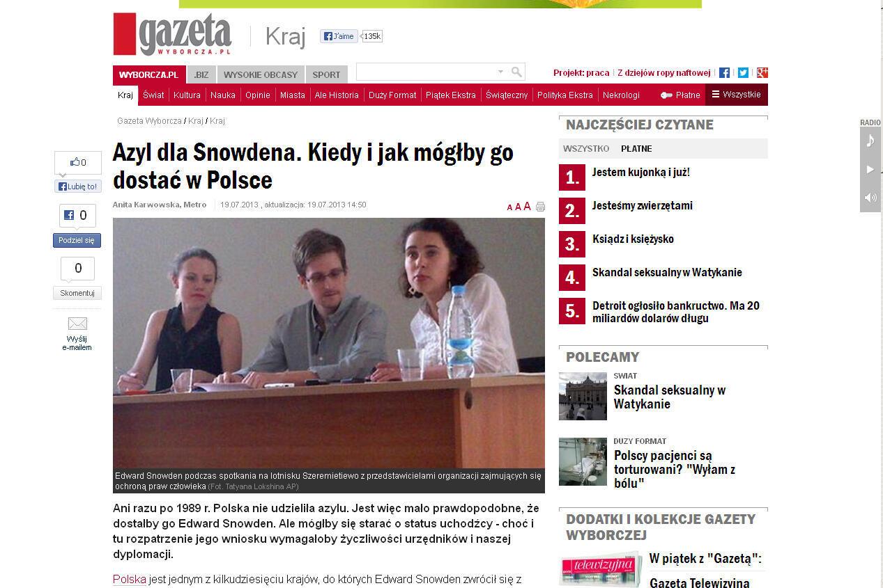 Сайт польского издания Gazeta Wyborcza