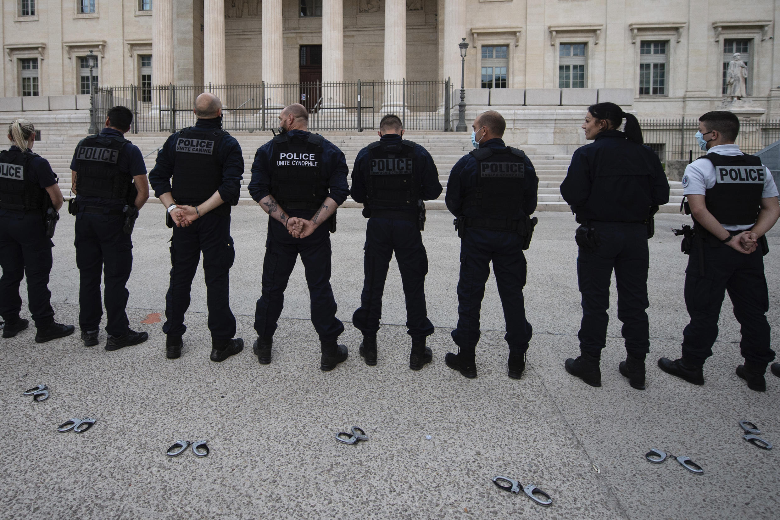 110620 french police protest handcuffs