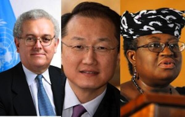 Jose Ocampo (kushoto), Dr. Jim Kim (katikati) na Ngozi Lweala (kulia) wote hawa ndio waliokuwa wagombea wanafasi ya mkuu mpya wa benki ya Dunia
