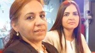 Yamile Saleh y Tamara Sujú en los estudios de RFI en parís.